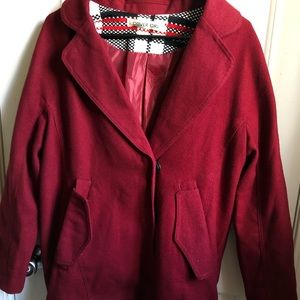 Jackets & Blazers - cute red overcoat with pockets
